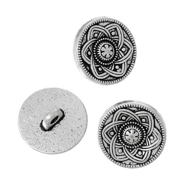 Mua 30pcs Tone Flower Decorative Metal Buttons Fit Sewing Scrapbook 15mm(Ancient silver)