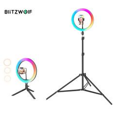 BlitzWolf BW-SL5 10 Inch Đèn LED RGB Ánh Sáng Có Thể Điều Chỉnh Độ Sáng Đèn Vòng Chụp Ảnh Tự Sướng Cho Youtube Tiktok Trang Điểm Phát Trực Tiếp Với Điện Thoại Giá Ba Chân Màu Đen