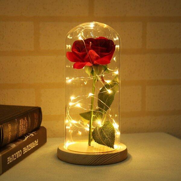 Bảng giá Hoa Hồng Trong Bình Làm Đẹp Đèn Bàn Hoa Hồng Đỏ Với Đèn LED Mái Vòm Thủy Tinh Cho Ngày Valentine Quà Tặng Ngày Của Mẹ Nghệ Thuật Deco Đèn Đầu Giường