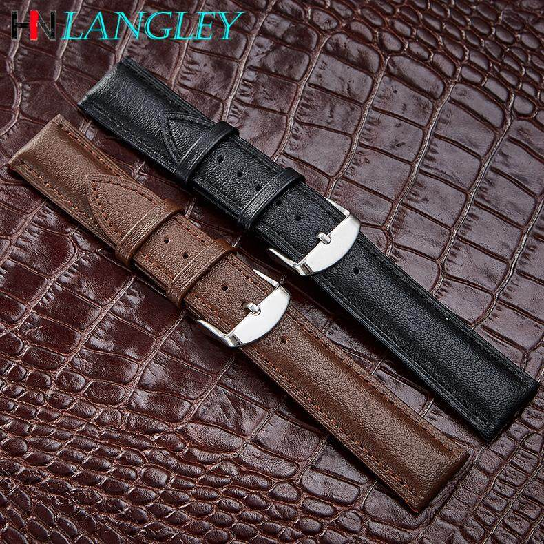 Genuine Leather Watch Band Mens Watchband Cowhide Watch Strap Waterproof Stainless Steel Buckle 12/14/16/18/20/22/24mm Malaysia