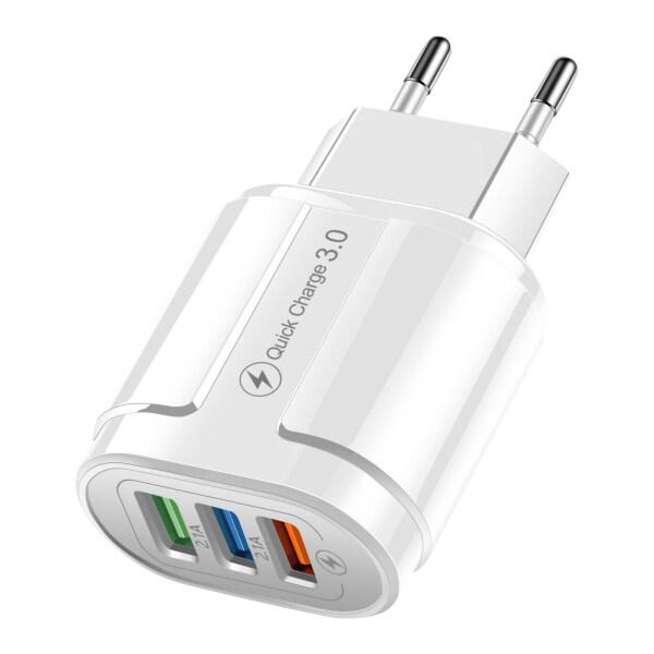 Bộ Sạc USB 3 Cổng Cắm EU Mỹ Bộ Chuyển Đổi Sạc Nhanh Cho Máy Tính Bảng Gắn Tường QC3.0