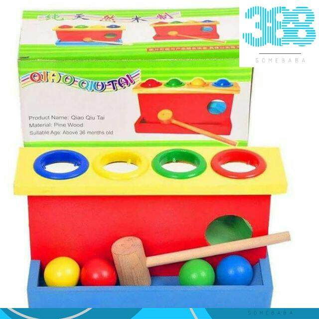 Knocking Ball - Wooden Toys Color Ball Striking Table Four Layer Knock Table Baby Hand Game Toys Child Early Education Toys长型敲球台 By 388 Somebaba.