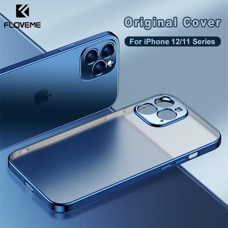 Ốp Lưng Điện Thoại Floveme Khung Viền Vuông Sang Trọng Mặt Lưng Trong Suốt Nhựa TPU Silicon Mềm Siêu mỏng Chống rơi Chống Va Đập Bảo Vệ Máy Ảnh Cho iPhone 12 Pro Max X XR XS Max iPhone 11 Pro Max 7 8 7Plus 8Plus