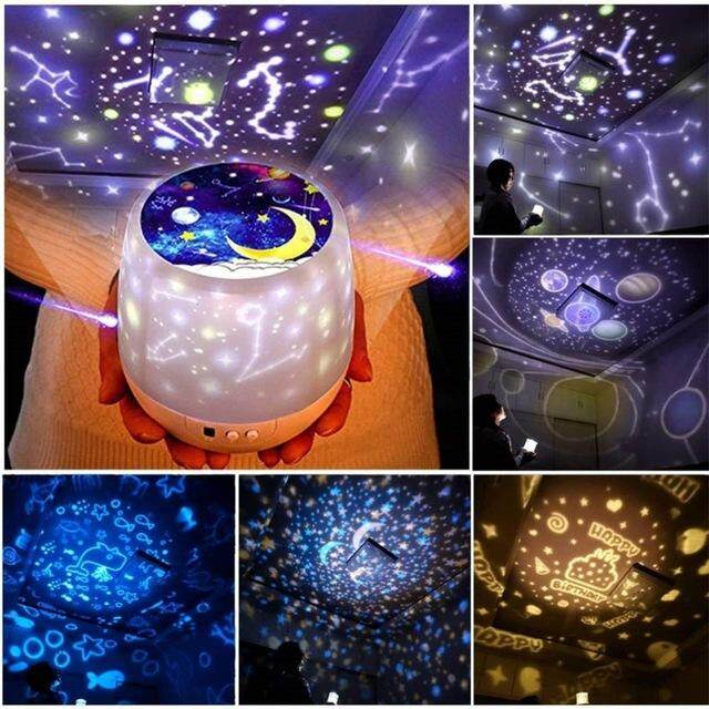 Universe Star Night Light Projector For Children,Romantic Rotating Star Sea LED Lamp For Baby Nursery, Best Birthday Christmas Gifts - 6 Sets Of Theme