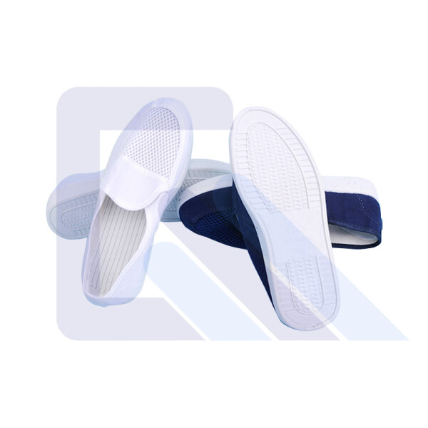 Canvas Anti-Static PVC Sole Cleanroom ESD Safety Shoe With Single Mesh Hole