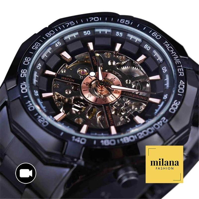 Winner/Forsining Night King Mens Automatic Skeleton Watch - Waterproof Gold Luminous Luxury Stainless Steel Strap Malaysia