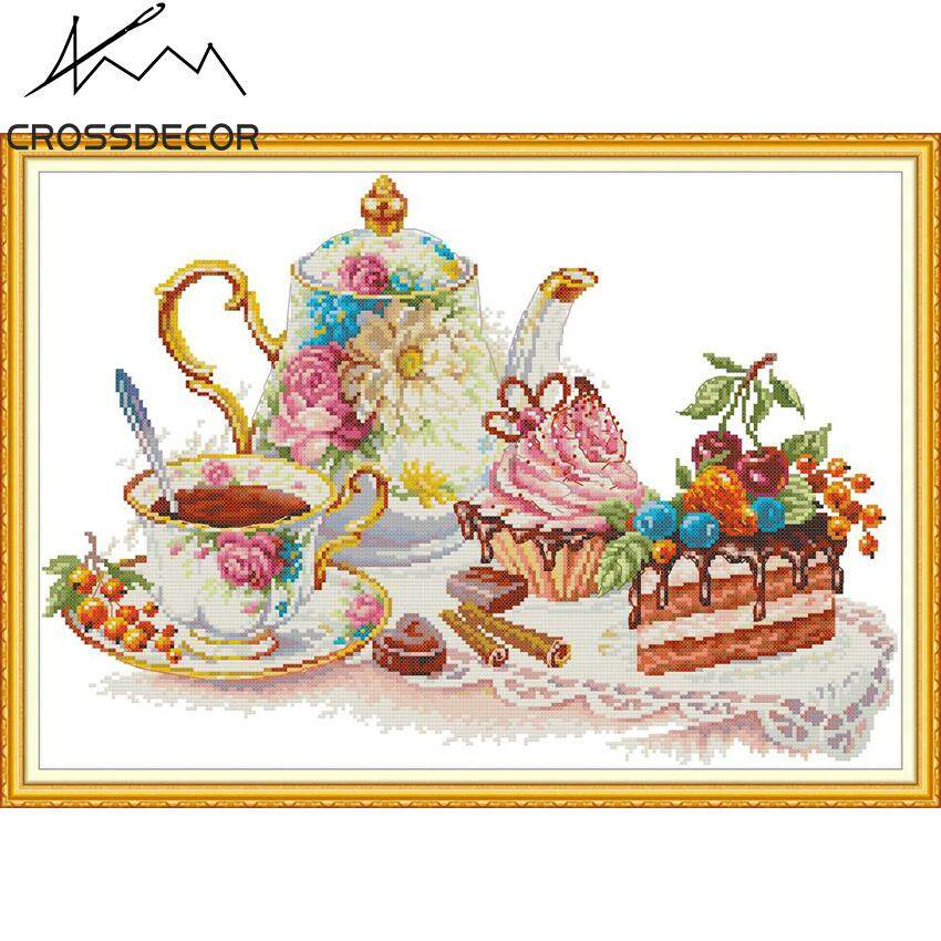 New Arrival CrossDecor Afternoon Tea 6 Stamped Cross Stitch Set 11CT DIY Handmade Embroider Needlework DMC Complete Kits Pattern Pre-Printed On the Cloth Home Room Decor