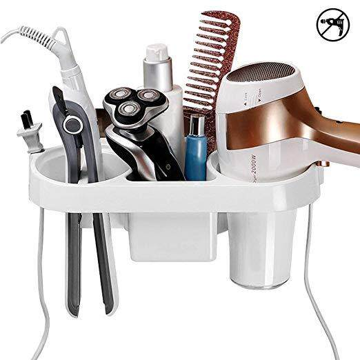 Adhesive Hair Dryer Holder, Wall Mounted No Drilling Plastic Bathroom Blow Drier Storage with Plug Hook, Hair Care Tools Organizer Basket with Cups for Curling Flat Straight Hot Iron
