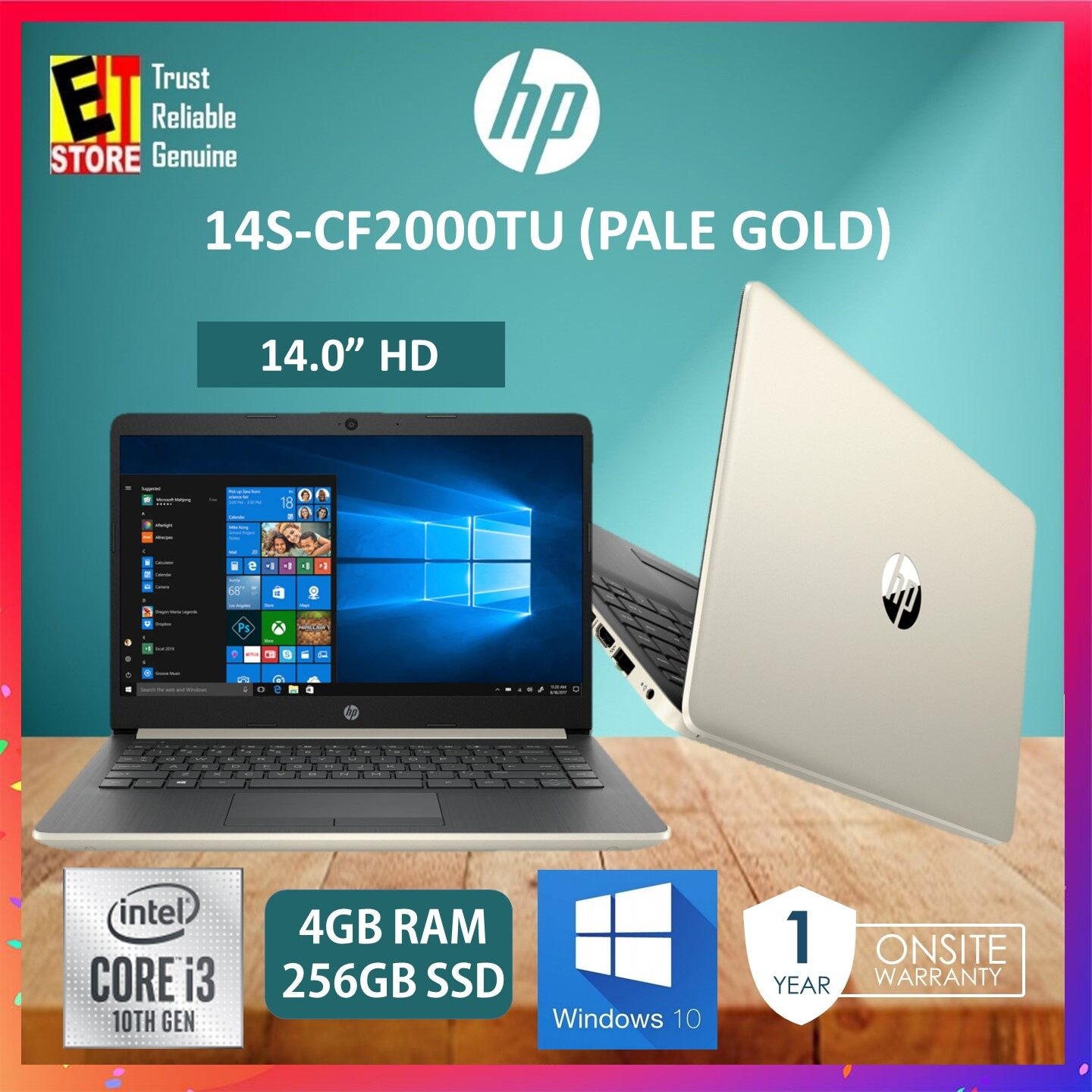 HP 14S-CF2000TU LAPTOP -PALE GOLD (i3-10110U/4GB/256GB SSD/14 HD/W10/1YR) + BACKPACK Malaysia