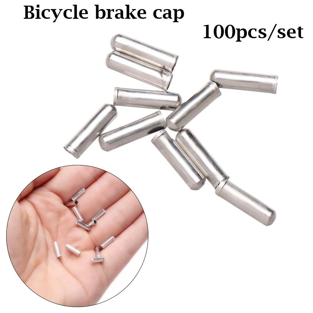 100Pcs//Set ALUMINUM BIKE BICYCLE SHIFTER BRAKE CABLE TIPS CAPS ENDS CRIMPS