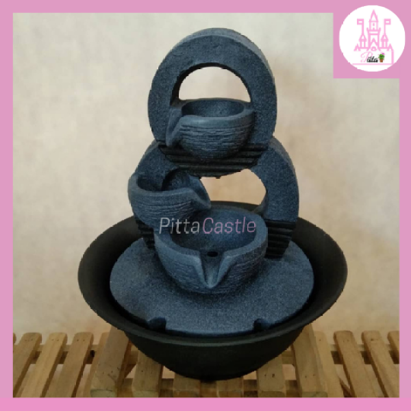 WATER FOUNTAIN | Indoor Mini Grey Water Fountain Home Garden Decoration Water Feature Landscape (PTG00595)