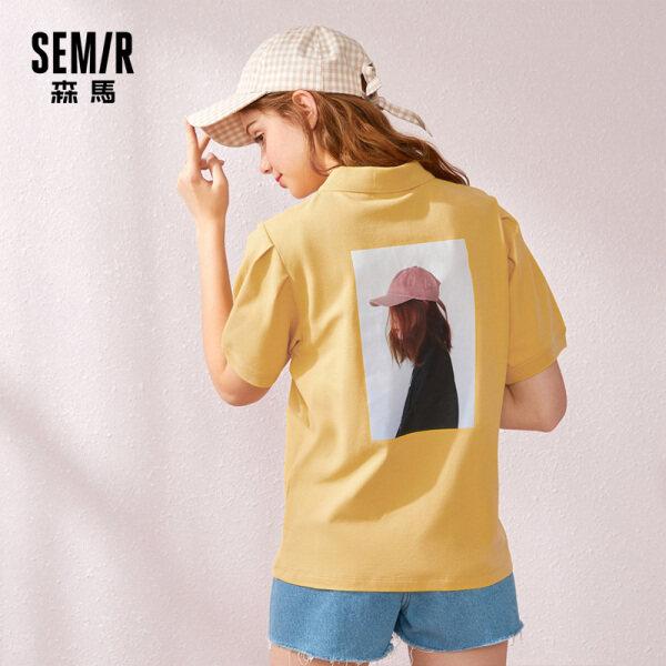 Semir T-Shirts In Họa Tiết Phía Trước Ngắn-Tay Áo T-Shirt Crewneck Mềm T-Shirts
