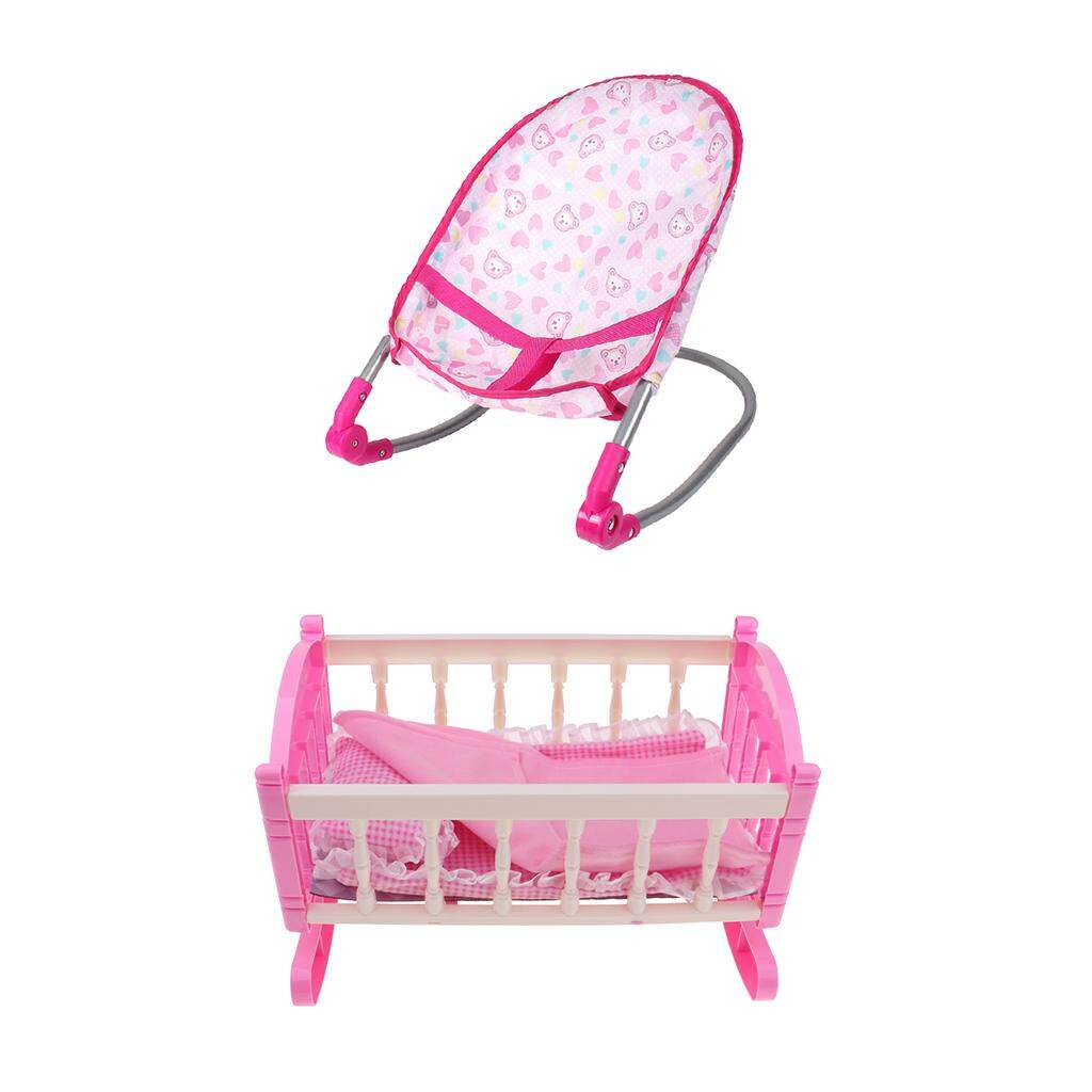 Magideal Baby Nursery Room Furniture Decor Doll Bouncer Cradle Bed Kids Fun Play Toy.