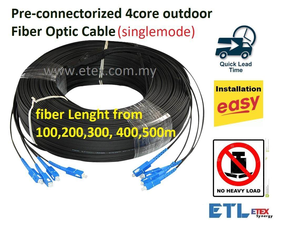 4 Core Fiber Optic Cable Pre Connectorized Singlemode 300mtr