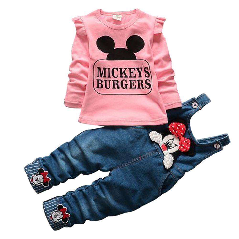 Bumblebaa Silynew Kids Girls Cartoon Minnie Mouse Set Clothing Costume Tops T-Shirt Bow Tie Jeans Bib Pants 2 Pcs Kids Casual Childrens Set By Bumblebaa.