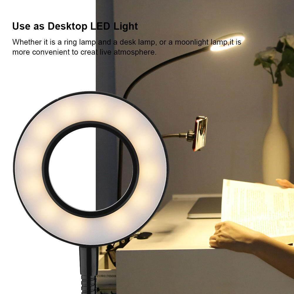 Portable Selfie Ring Light 360° Long Arm Table Holder LED Fill-in Light for Live Stream& Makeup