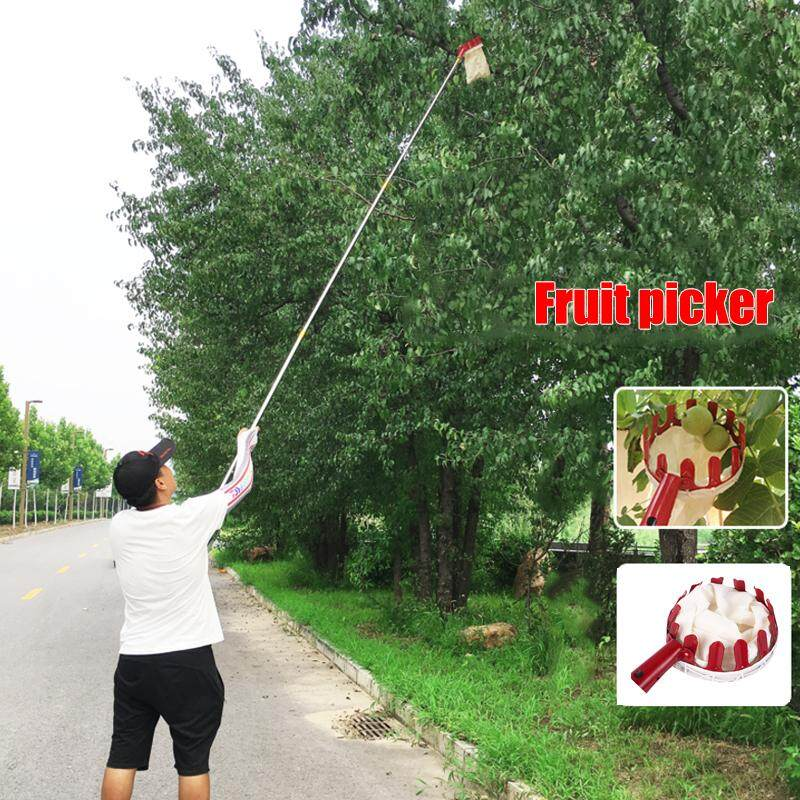 JMS Fruit Picker Pruning Tools Fruit Catcher Collector Portable Creative Red Metal Device Gardening Yard Farm