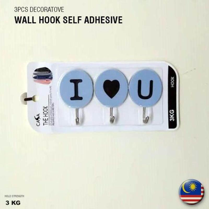 CASA Decorative hook 3pcs Lovely WORDS [I LOVE YOU] Wall Hook Self Adhesive