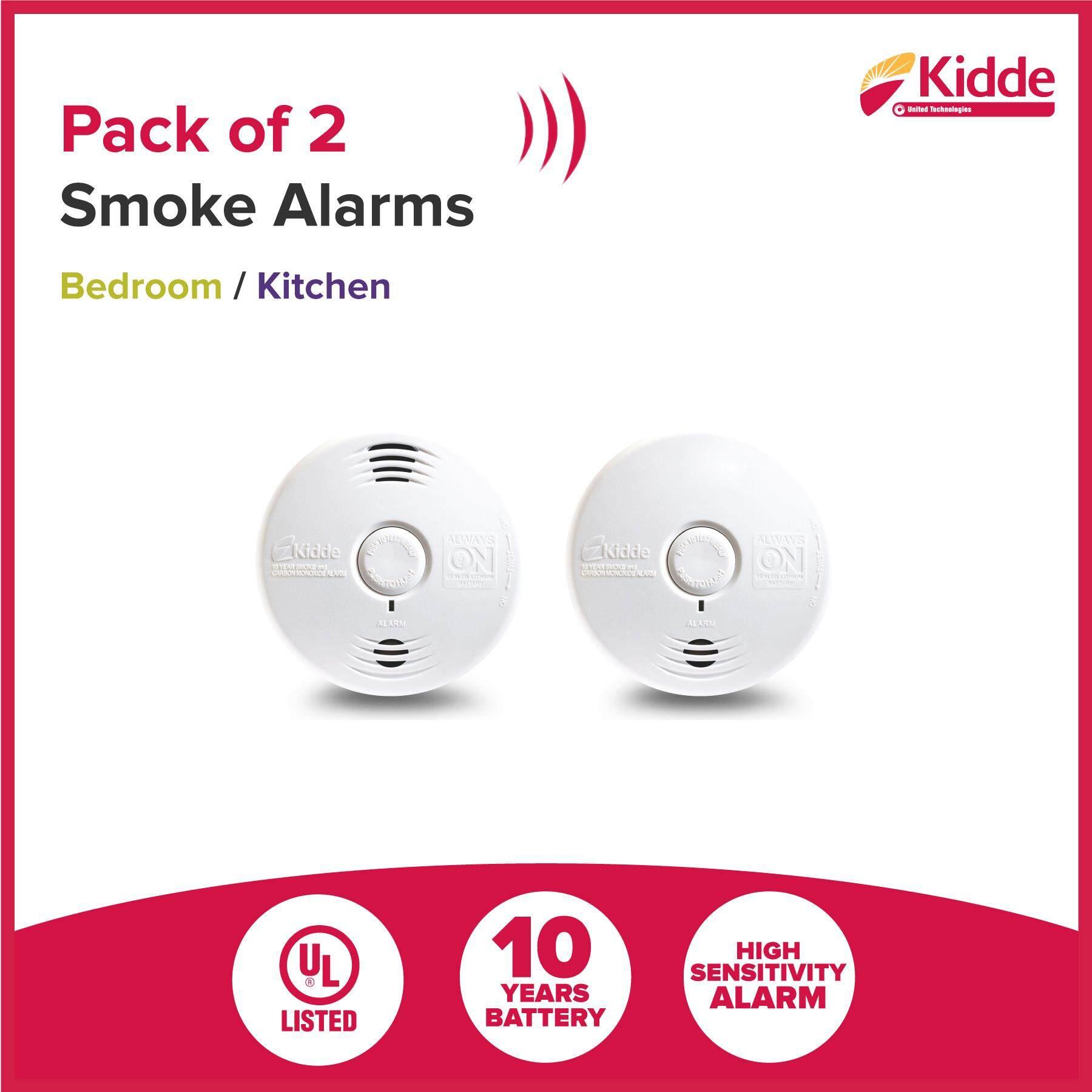 KIDDE Smoke Alarm Detector set ( Fire! Fire !  Voice Smoke Alarm + Smoke & CO)  [Pack of 2], 10 Years Battery, UL listed