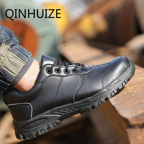 QINHUIZE Hot sale new safety shoes male steel head summer breathable anti-smash anti-piercing lightweight non-slip wear-resistant construction site safety shoes