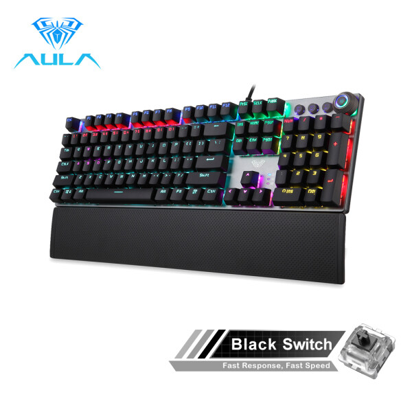 AULA F2058/F2088 Mechanical Gaming Keyboard wrist rest Multimedia Knob,  Marco Programming metal panel LED Backlit keyboard for Computer Gamer Singapore
