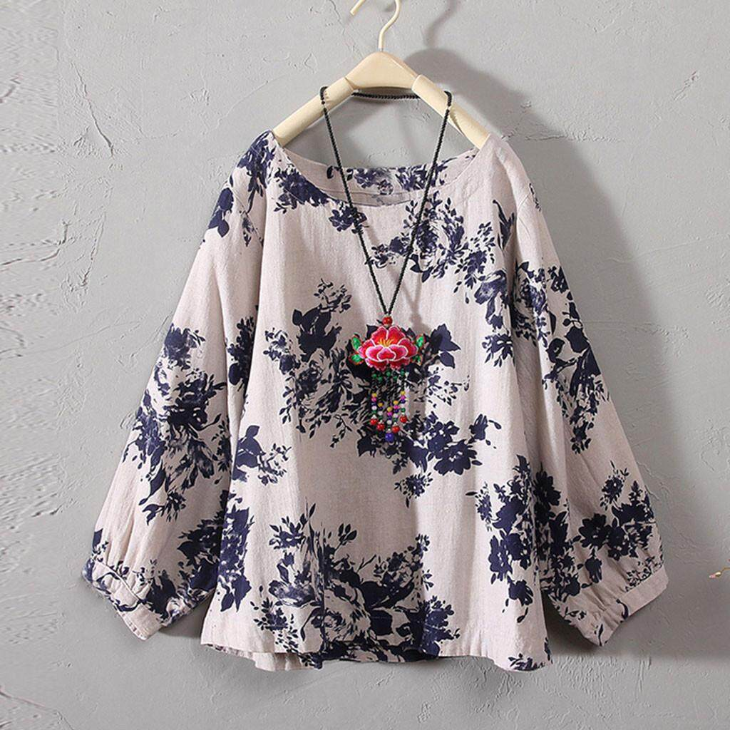 1283b7d243bece Product details of Womens Casual Plus Size Cotton Tops Tee T Shirt Vintage Boho  Floral Loose Blouse