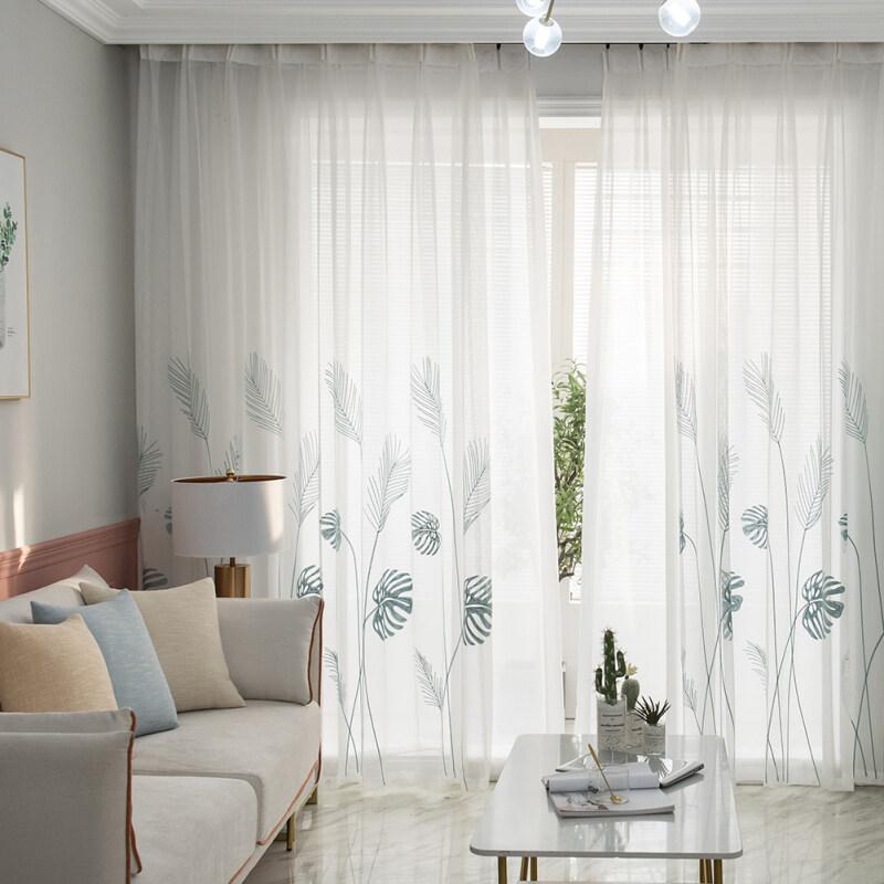 Palm Leaf Windows Tulle Rèm phòng khách phòng ngủ sàng lọc sợi
