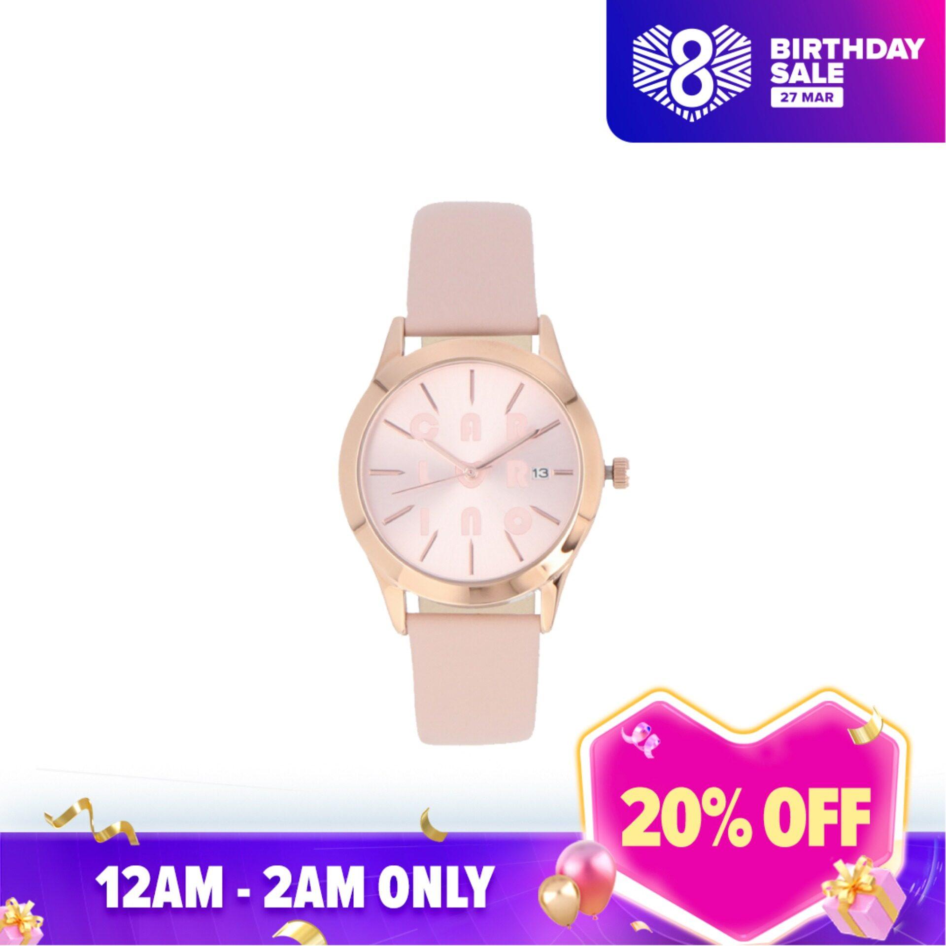Carlo Rino Pink Styler Leather Strap Timepiece Malaysia