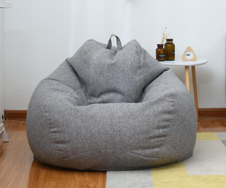 Ghế Túi Hạt Lớn Ghế Bành Vải Nhung Sợi Bọc Ghế Sofa Trong Nhà Lười Biếng Cho Người Lớn-Màu Xám