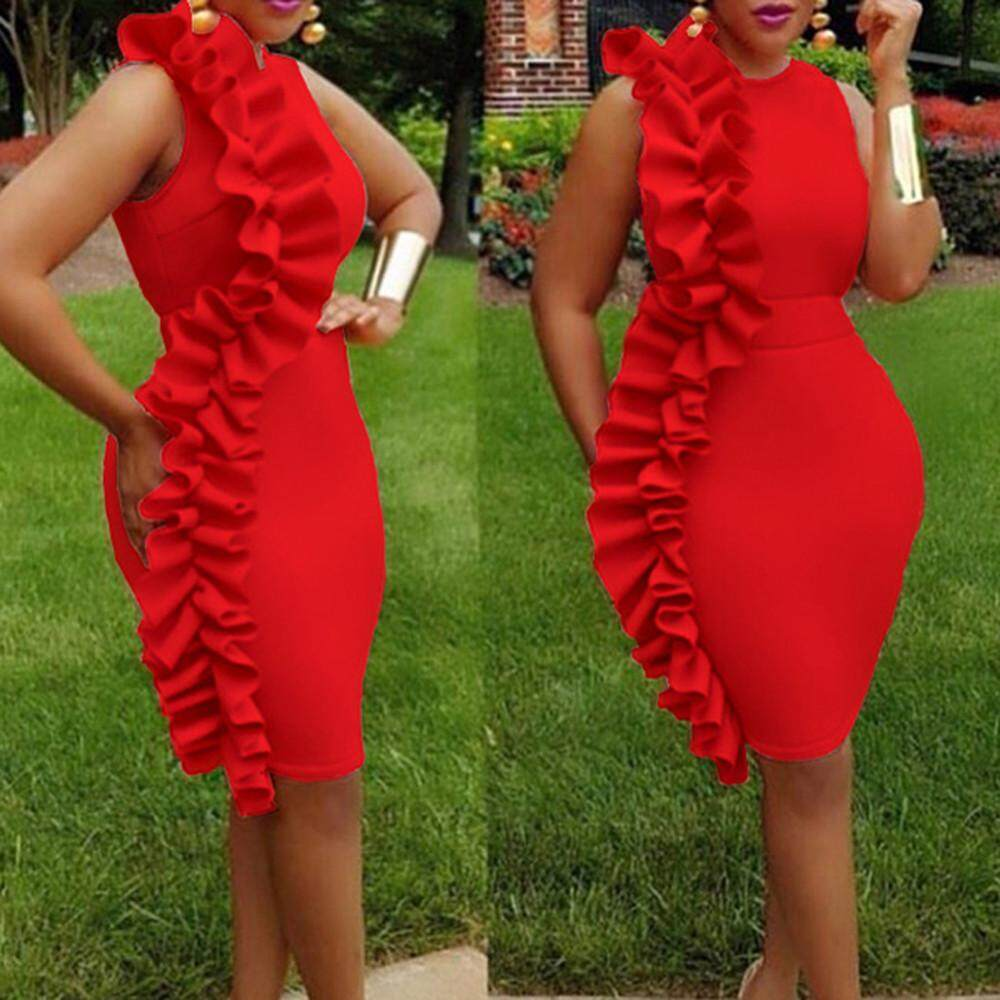 a48c12338cff0 GUO Women Plus Size Sexy Vintage Ruffled O-Neck Sleeveless Pencil Party  Dress