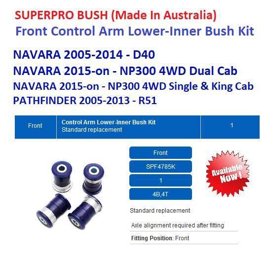 SUPERPRO FONT Control Arm Lower-Inner Bush Kit - NISSAN NAVARA D40 / NP300