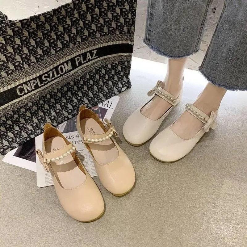 รองเท้าผู้หญิง2021ฤดูใบไม้ผลิและฤดูร้อนใหม่พื้นแบนทุกการแข่งขัน Mary Jane รองเท้าหนังขนาดเล็กรองเท้าเครื่องแบบ Jk.