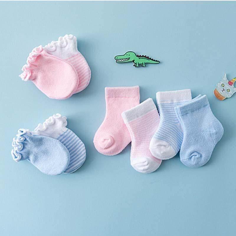 2 Pairs Baby Cotton Anti-Scratch Gloves Cute Patterns Newborn Baby Soft Mittens