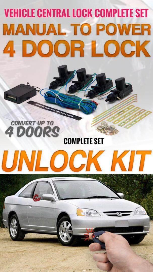 Car 4 Door Central Locking System Car Central Lock Full Set With Central Lock Relay Car Central Door Lock Complete Set 4 Door Kit Lock Unlock Conversion Kit for Vehicle