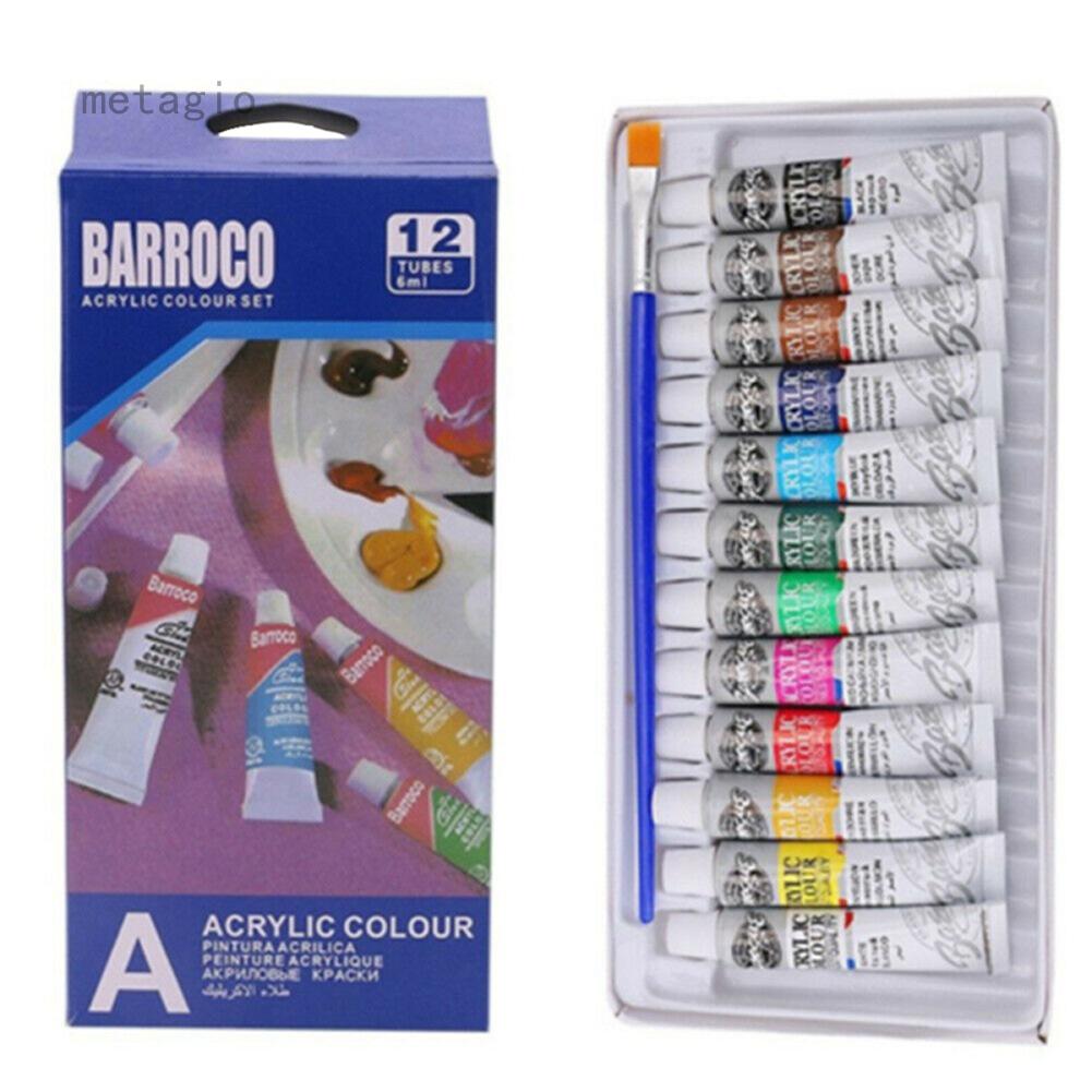 Sơn Nghệ Thuật Acrylic Megagio 12 Ống Set – 6Ml Màu Sắc Các Loại Nghệ Sĩ Thủ Công Tranh Vải Bố Sắc Tố