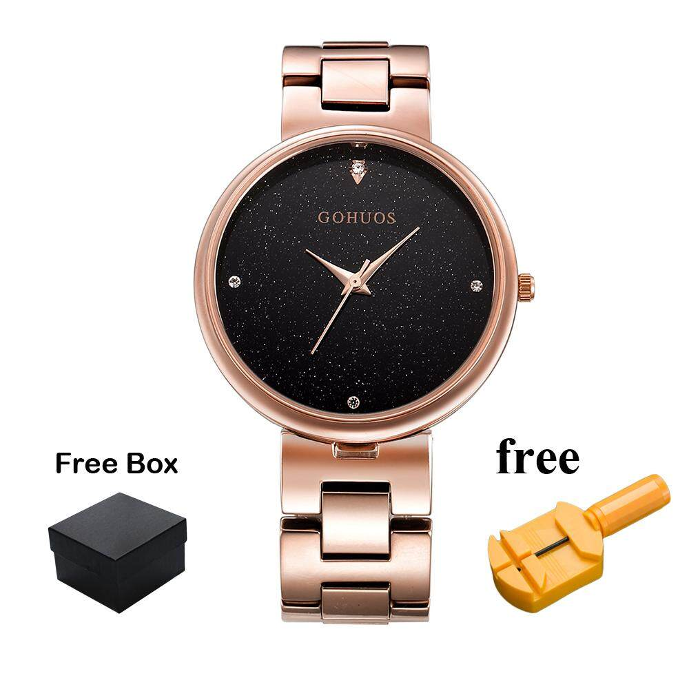 GOHUOS Charm Casual Starry Sky Style Wristwatch For Women Stainless Steel Strap Quartz Movement Diamond Ladies Watch Life Waterproof Time Display Business Ladies Watch GS02 Malaysia