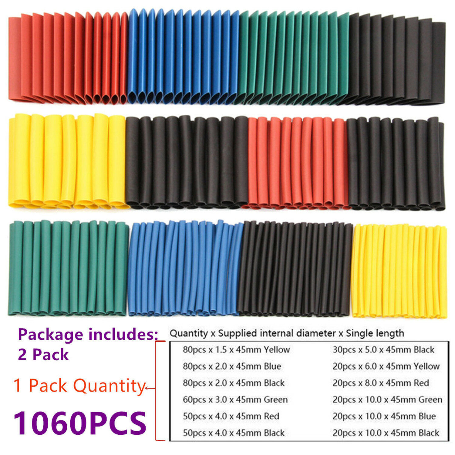 1060PCS 2:1 Electric Insulation Heat Shrink Tubing Tubes Wrap Sleeve Sleeving Set for Data Line Cables Protection Connection Daily Repairs