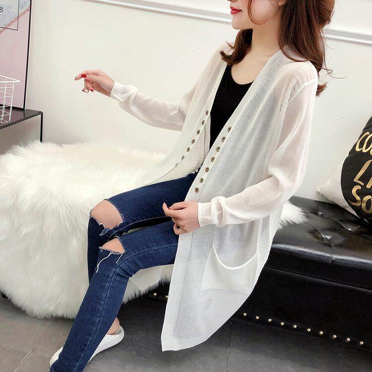 Cardigans Women's Clothing Knit Cardigan Women Shawl Coat New Long Over The Knee Female Costume Outfit Spring Elegant Slim Air Conditioning Ladies Jacket