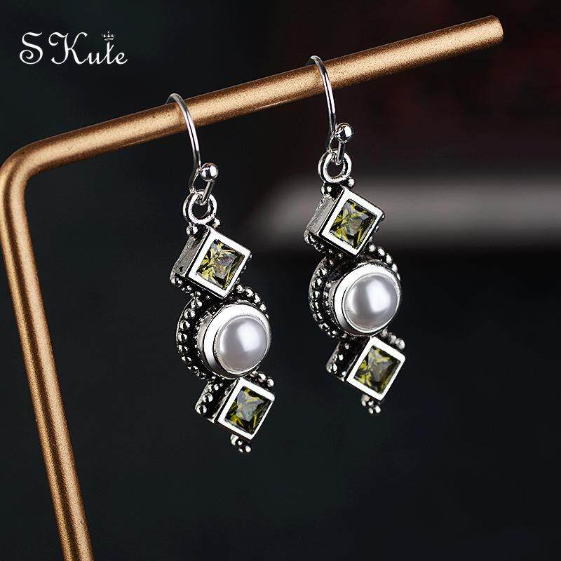 4c2cb2558c28be ❤SKute Cute Pearl Drop Earrings Opal Olive Green Crystal S925 Silver Hoop  Earring Boho Indian