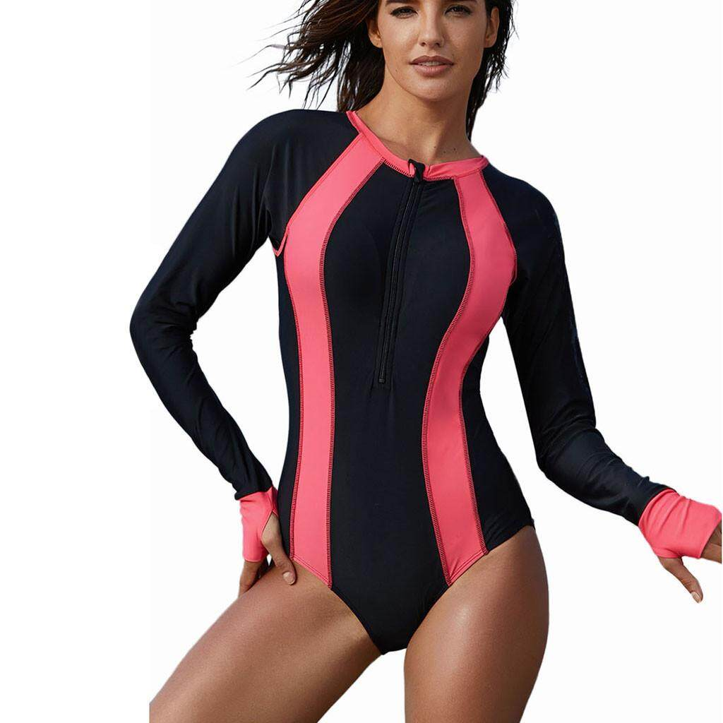 7dfddc3710 Women Long Sleeve Surfing Diving Swimsuit One Piece Beach Bathing Suit