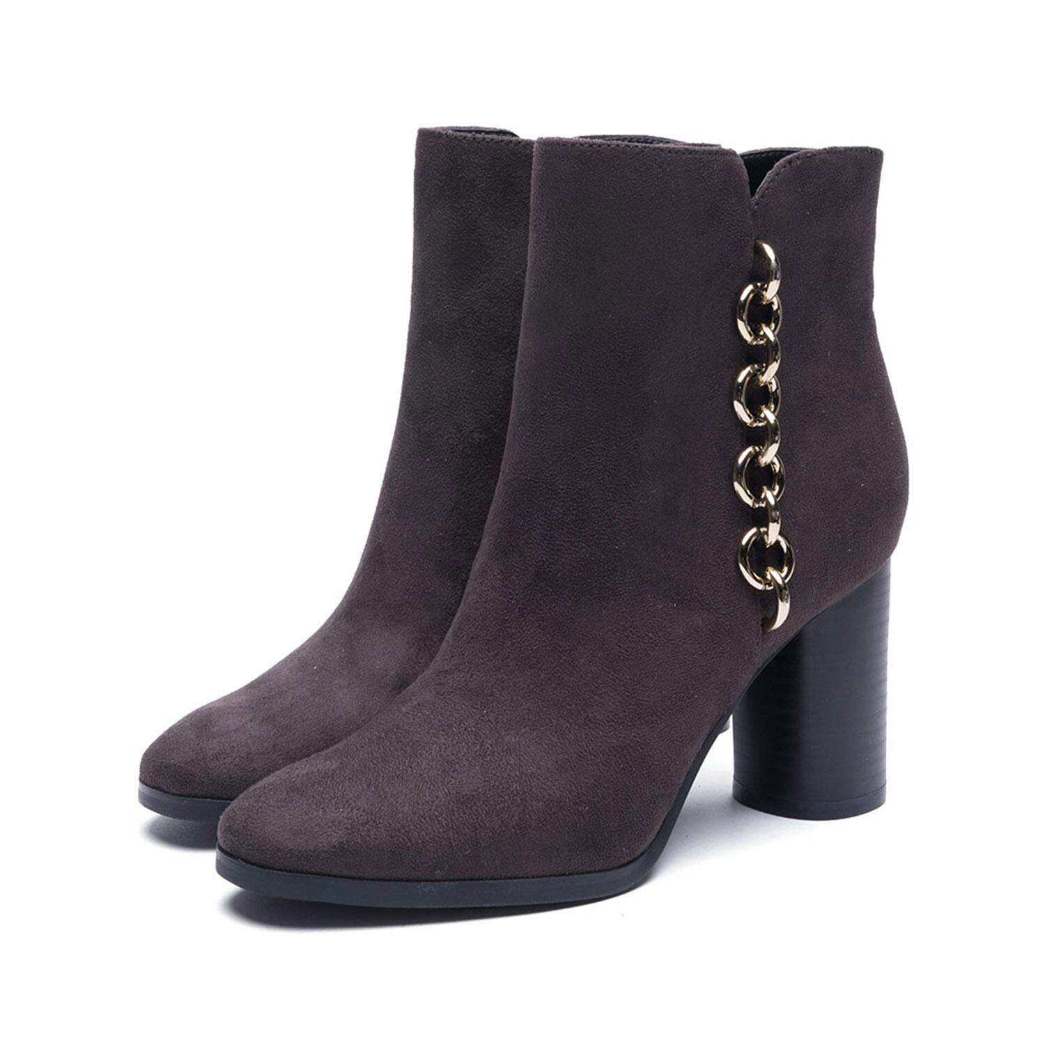 b13b128d9658 Daphne Heeled Ankle Boots Dark Grey with Side Zipper   Gold Chain detail