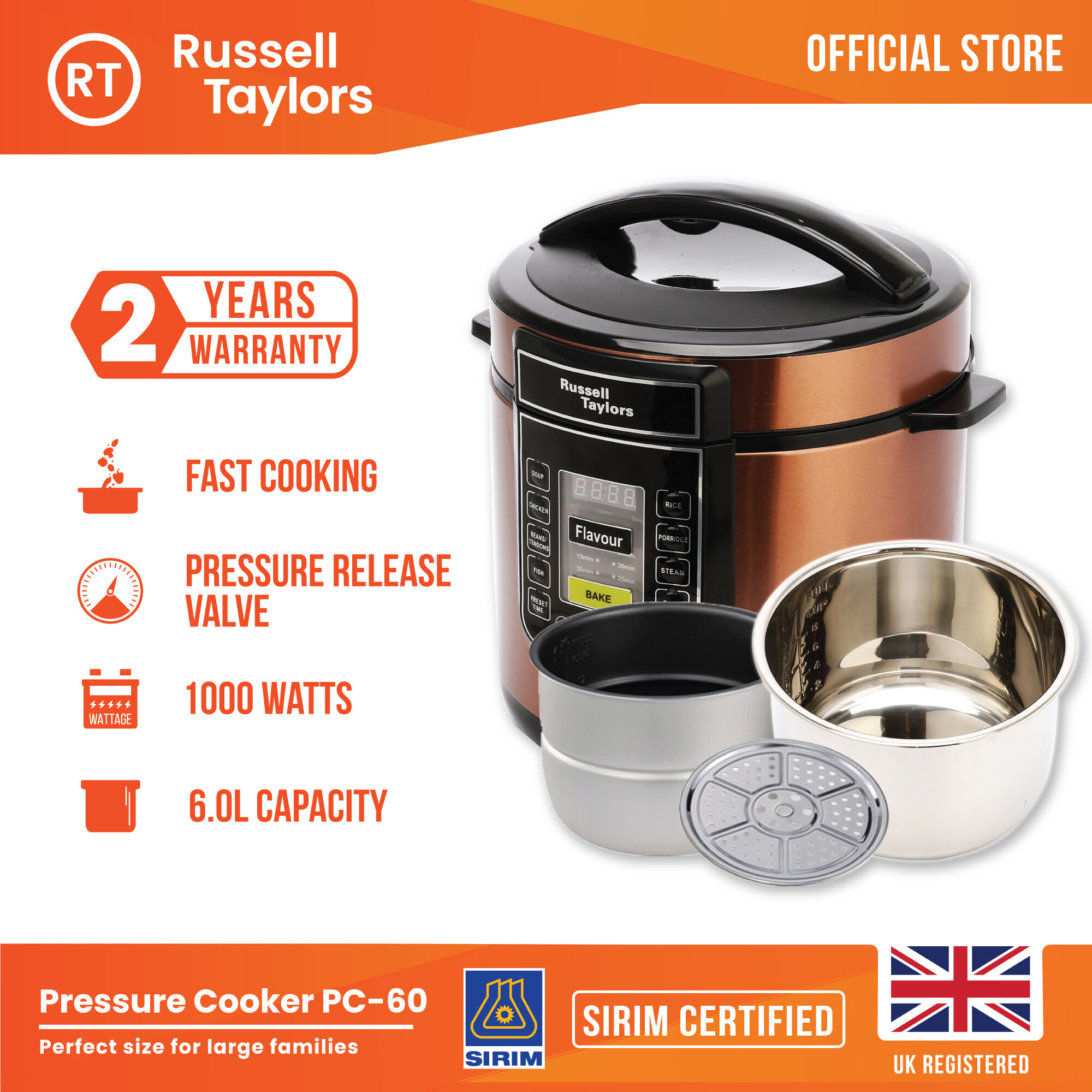 Russell Taylors 6L Dual Pot Pressure Cooker PC-60 (2 inner pots + 1 steam rack) Electric Pressure Cooker