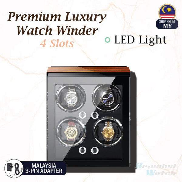 High Quality Premium Luxury Auto Vertical Watch Winder LED Light Rotate Watch Box 4 Slots Premium PU Leather For Watch Collector (Gift Box Present, Watch Lover, Luxury Watch Box) Malaysia