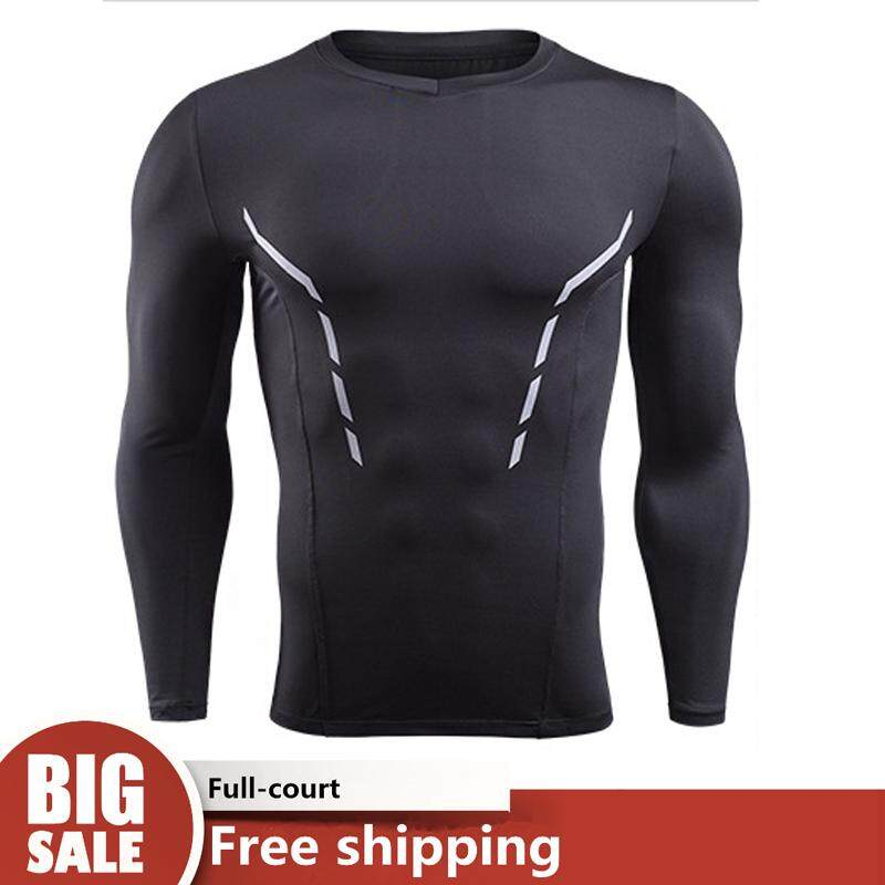 Mens Compression Tight Long Sleeve T-Shirt Quick Dry Fitness Cycling training