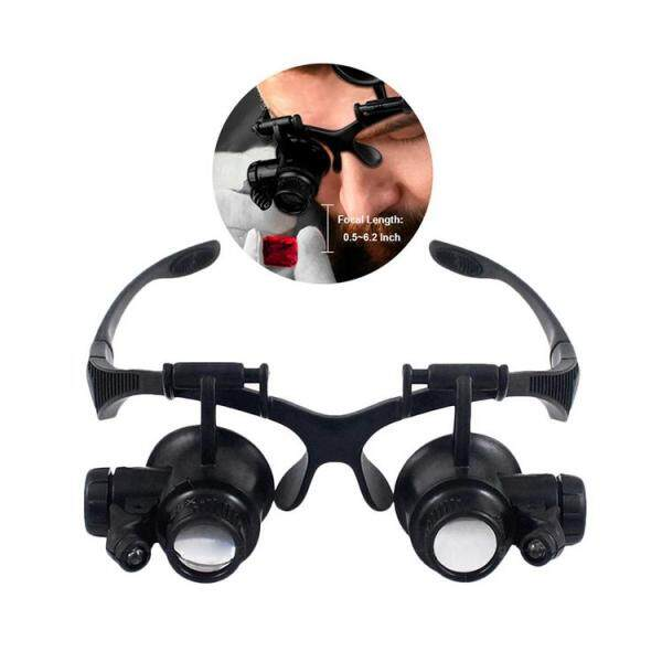 PER 10X 15X 20X 25X Double Eye Glasses Loupe Head Wearing Magnifying Glasses Headset Illuminated Magnifying Glasses Tool Set with LED Light for Watch Repair, Micro engraving