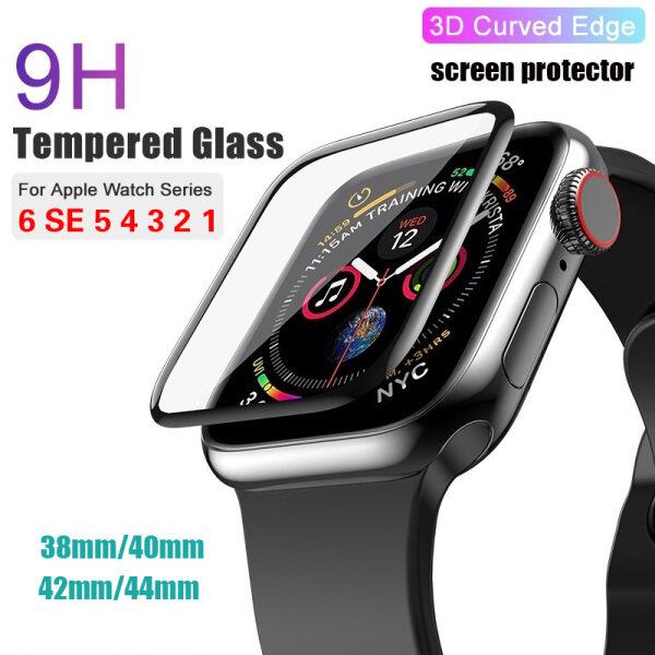 Kính Cường Lực 3D Full Cover Cho Apple Watch 6 5 SE Band Cover Series Miếng Dán Màn Hình Kính 5 4 3 2 1 Cho Apple Watch 38Mm 42Mm 40Mm 44Mm