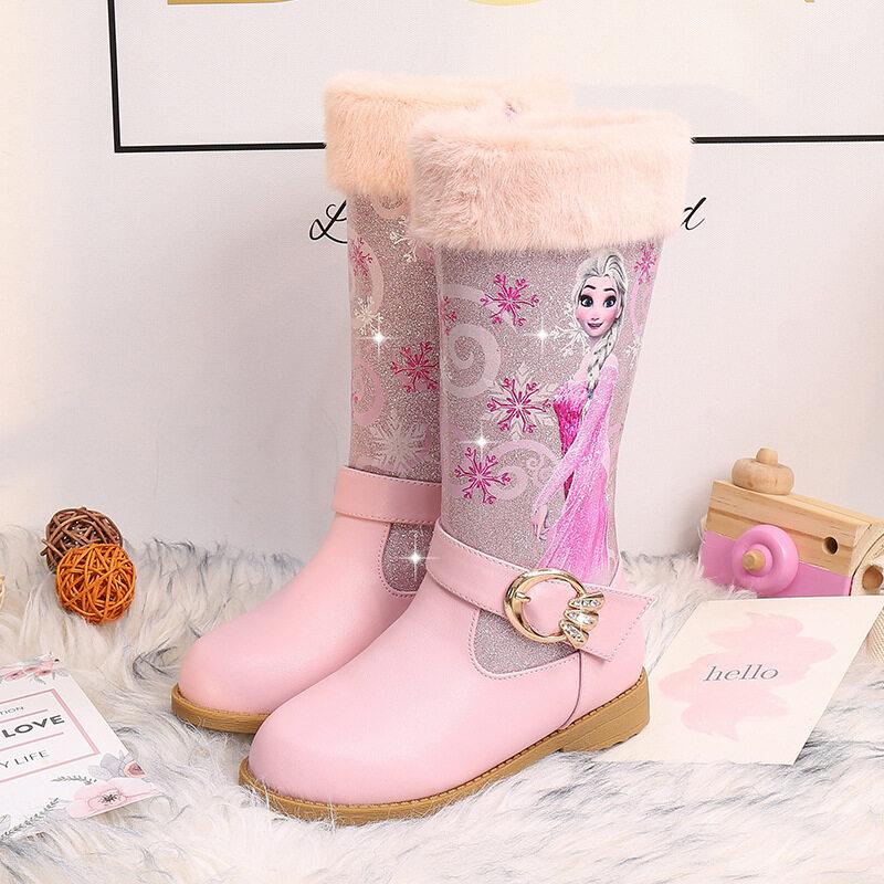 Giá bán Thời Trang Bé Gái Elsa Giày Công Chúa Da PU Chống Thấm Nước Cho Bé Ấm Ngực Cotton Trẻ Em Bé Gái Giày Cao Trẻ Em Ủng Plus nhung Cao Gót Chân Công Chúa Giày