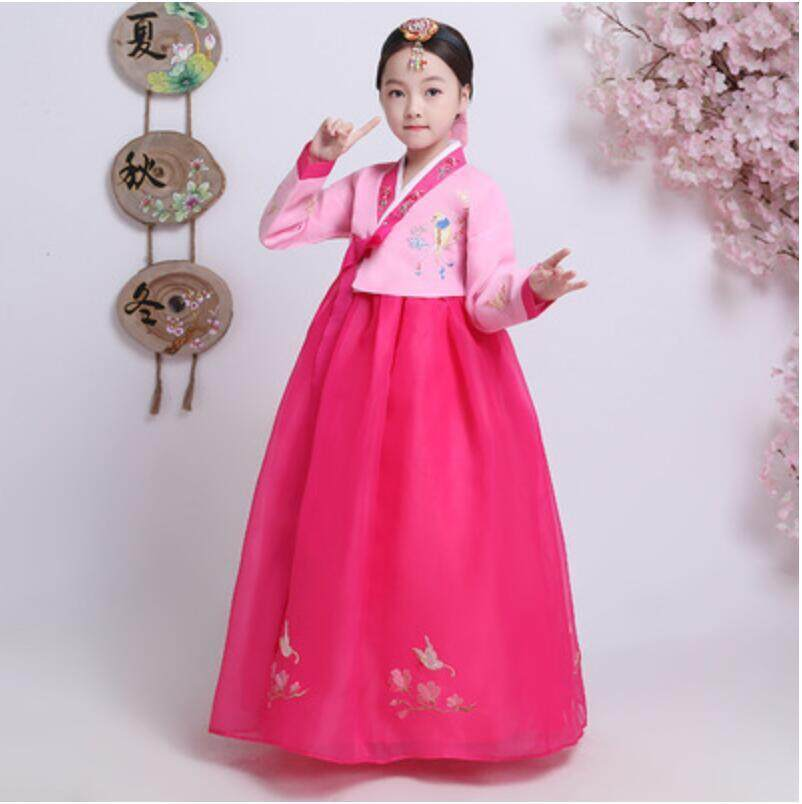 Children embroidered Hanfu Girls Korean Clothes Traditional Dance Costumes  Kids Show Performances Dress Cosplay