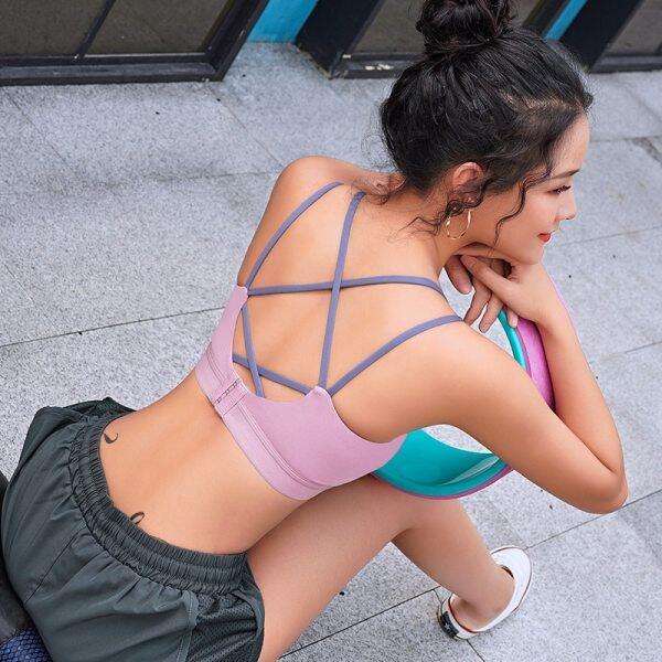 Áo ngực dùng khi tập Yoga thiết kế hở lưng dây đeo mỏng có khả năng chống sốc - INTL