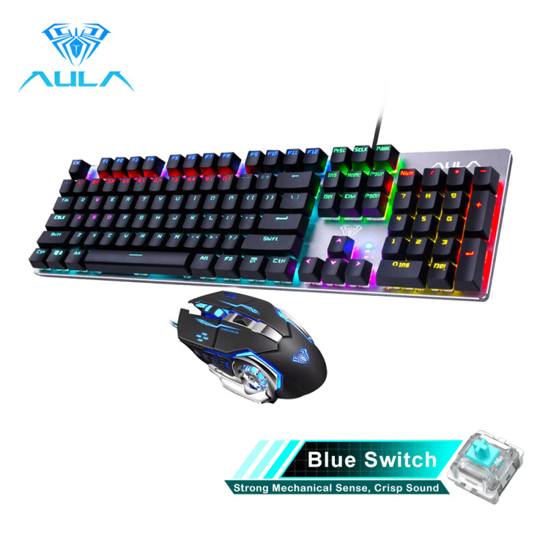 YFD AULA Mechanical Gaming keyboard and Gaming Mouse Combo-Black/Blue Switch(F2068+S20) Singapore